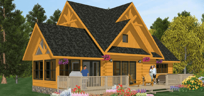 Small cabin plans: The Sequoia Plan - 1,973 sq ft by 1867 Confederation Log & Timber Frame