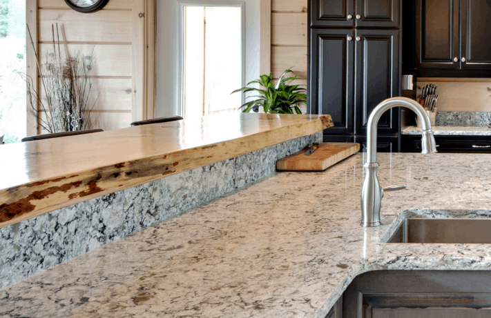 Example of live edge breakfast bar. Model: The Ellwood
