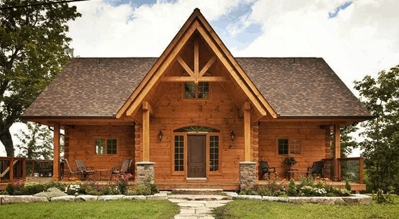 Confederation log and timber frame for Small cottage plans canada