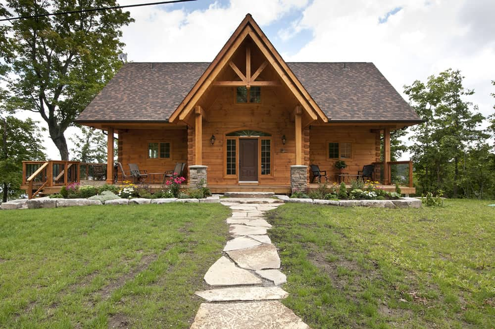 The hillcrest confederation log timber frame for Timber frame house kits for sale